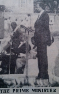 Prime Minister of SVG, James Mitchell, at the memorial service for flight 319 passengers at the Victoria Park on Sunday August 10, 1986